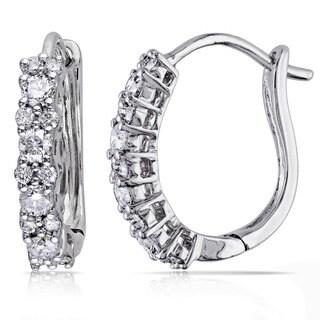 Miadora 14k White Gold 1/2ct TDW Diamond Cuff Earrings (G-H, I1-I2)