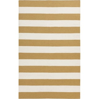 Handwoven Yellow Stripe Mustard Wool Rug (9' x 13')