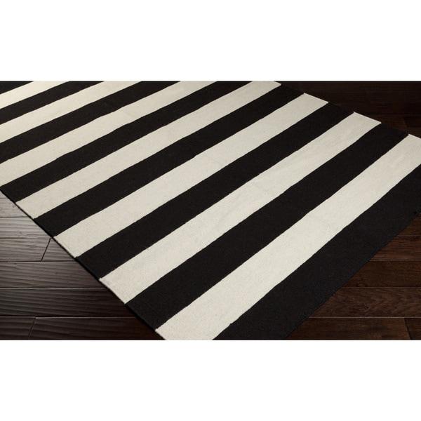 Handwoven Jailhouse Stripe Jet Black Wool Rug (5' x 8')