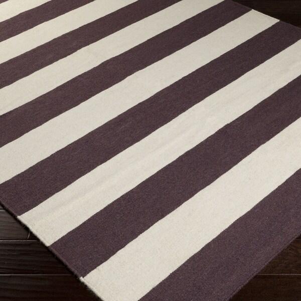 Handwoven Mocha Brown Stripe Wool Rug (5' x 8')