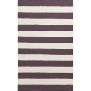 Hand-woven Purple Stripe Chocolate Wool Rug (8' x 11')