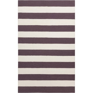 Hand-woven Purple Purple Stripe Wool Rug (9' x 13')