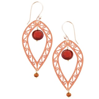 Fire Dance Copper Earrings with Red Pearl (Nepal)