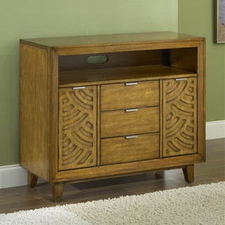 Pecan Latticework 3-drawer 2-door Media Chest