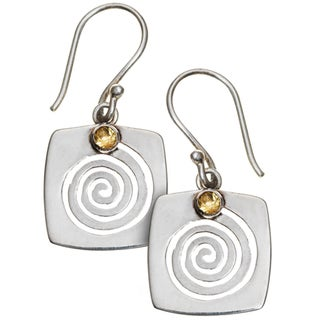 Citrine Swirl Dangle Earrings (Nepal)