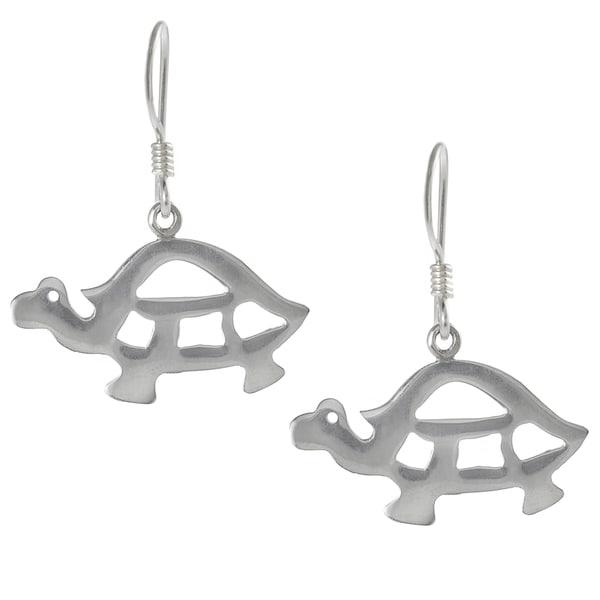 Journee Collection Sterling Silver Turtle Dangle Earrings
