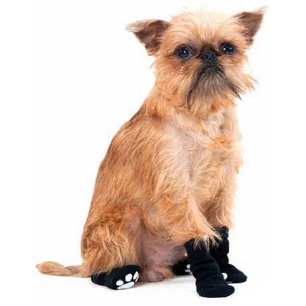 Black Slipper Socks with Grips (Medium 3.75-inch Paws)