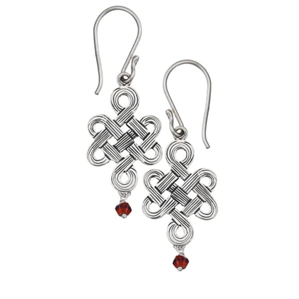 Mystic Knot Earrings with Garnet (Nepal)
