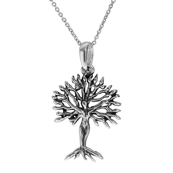 Journee Collection Sterling Silver Tree of Life Necklace