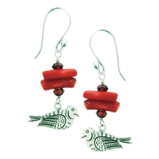 Coral Dove Earrings with Garnet (Nepal)