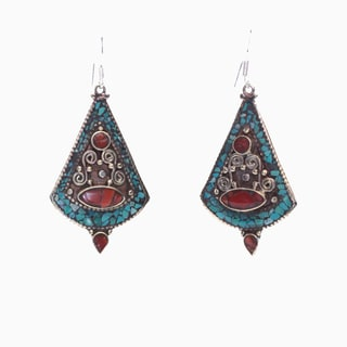 Brass Turquoise Pendulum Earrings (Nepal)