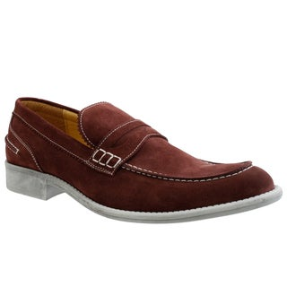 GBX Men's Wine Suede Slip-on Loafers