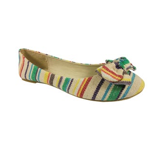 Betani by Beston Women's Striped Beige Ballet Flats
