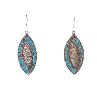 Small Brass Marquise Turquoise Earrings (Nepal)