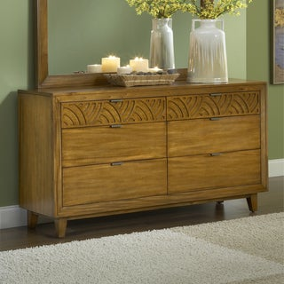 Pecan Latticework 6-drawer Dresser