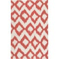 Hand-woven Quesnel Red Wool Rug (3'6 x 5'6)