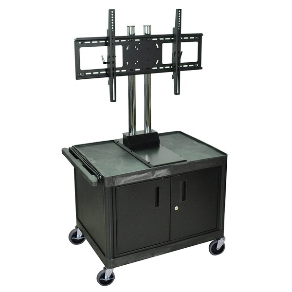 H.Wilson Black Tuffy Mobile Video Cart with Cabinet and Flat Panel Mount