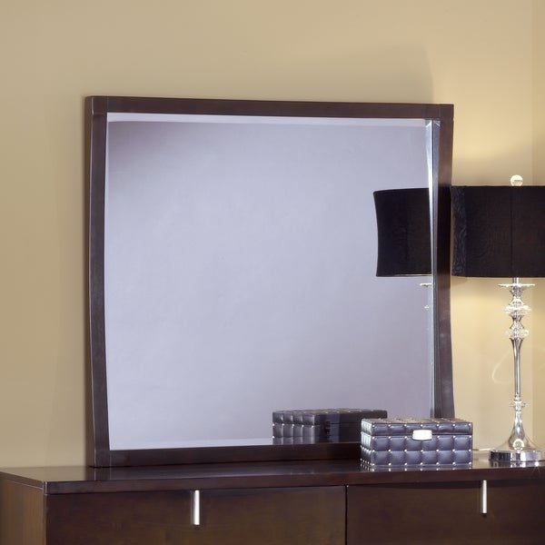 Domusindo Chocolate Brown Reverse Bowfront Square Mirror
