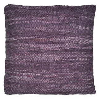 Purple 'Matador' Leather 18-inch Square Pillow