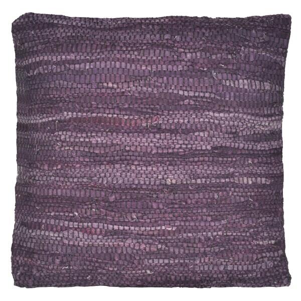 Purple 'Matador' Leather 18-inch Square Pillow