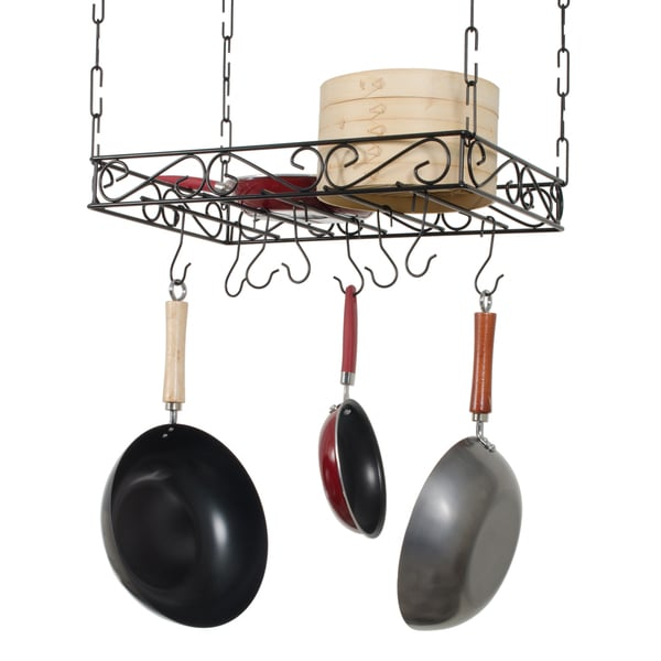 Concept Housewares Black Metal Wire Pot Rack