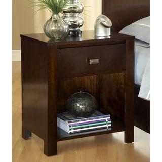 Modern Chocolate Brown One-Drawer Nightstand
