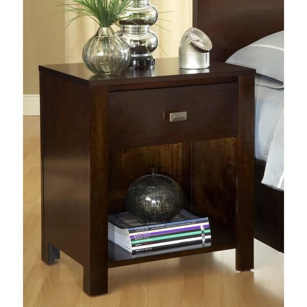 Modern chocolate brown one drawer nightstand table bedroom for Chocolate brown bedroom furniture