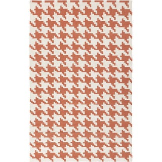 Hand-woven Lacombe Orange Wool Rug (9' x 13')