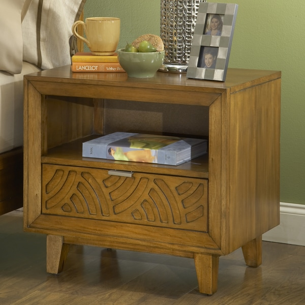 Latticework pecan one drawer charging station nightstand for Bedroom furniture 70123