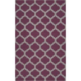 Hand-woven Castlegar Purple Wool Rug (9' x 13')
