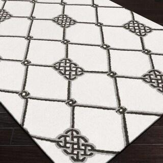 Hand-woven Surrey White Wool Rug (5' x 8')