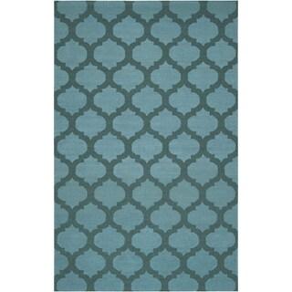 Hand-woven Kelowna Green Wool Rug (9' x 13')