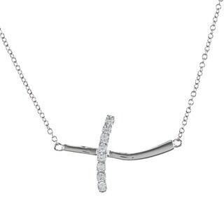 La Preciosa Sterling Silver Cubic Zirconia Curved Sideways Cross Necklace