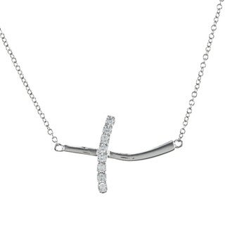 La Preciosa Sterling Silver Cubic Zirconia Curved Sideways Cross Necklace