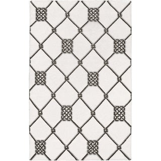 Handwoven Surrey White Wool Rug (8' x 11')