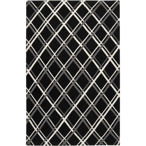 Handwoven Kimberley Black Wool Rug (8' x 11')