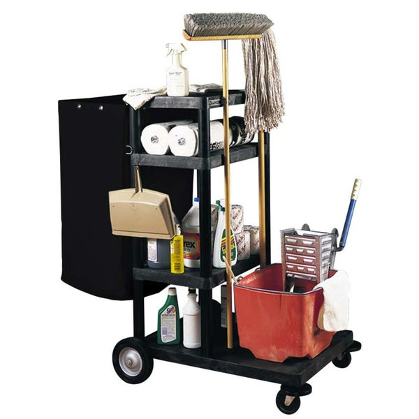 Luxor JCB40-B Four-shelf Black Plastic Janitorial Cart with black Nylon trash bag