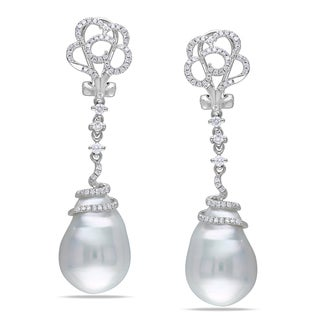Miadora 14k White Gold Pearl and 1/2ct TDW Diamond Earrings (G-H, SI1-SI2)