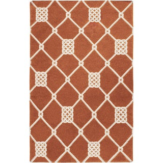 Handwoven Trail Orange Wool Rug (9' x 13')