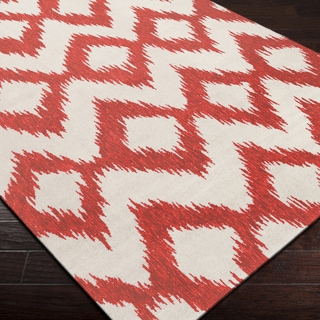 Handwoven Quesnel Red Wool Rug (5' x 8')