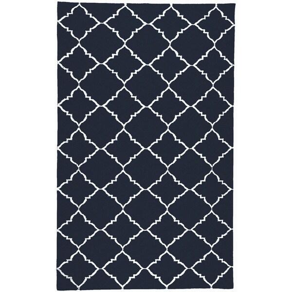 Handwoven Winkler Blue Wool Rug (9' x 13')