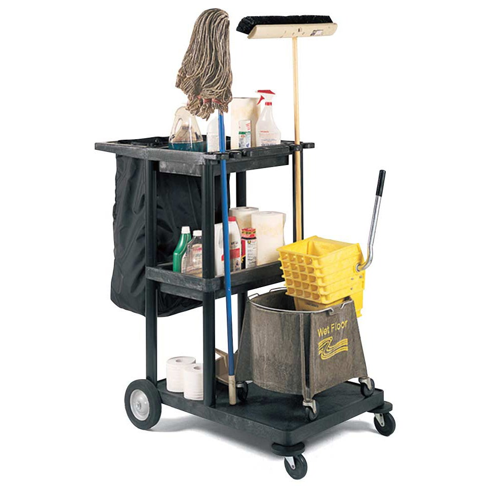 Luxor Three Shelf Black Plastic Janitorial Cart With Black Nylon Trash Bag (BlackMaterials PlasticFinish MatteTop two shelves have a tray for supplies8 inch big wheels and caster bumpersDimensions 24 inches long x 32 inches wide x 48 inches highNumber