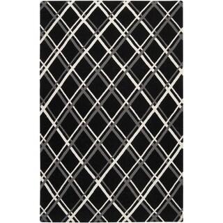 Hand-woven Langford Black Wool Rug (9' x 13')