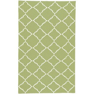 Hand-woven Winnipeg Green Wool Rug (9' x 13')