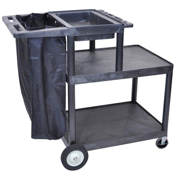 Luxor MSB42-B Three Shelf Heavy-duty Plastic Black Janitorial Cart