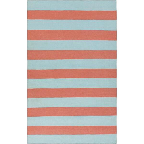 Hand-woven Sky Blue Beachy Stripe Wool Rug (8' x 11')