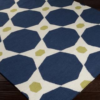 Hand-woven Navy Octo Midnight Blue Wool Rug (5' x 8')
