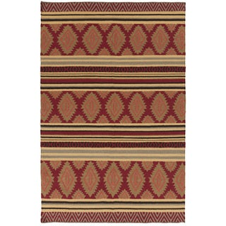 Hand-woven Ruby Geo Mix Redwood Wool Rug (2' x 3')