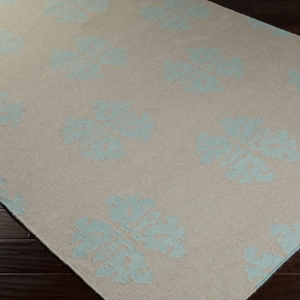 Hand-woven Stencil Tan Wool Rug (3'6 x 5'6)