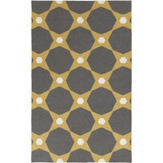 Hand-woven Pewter Stormy Octagon Wool Rug (9' x 13')
